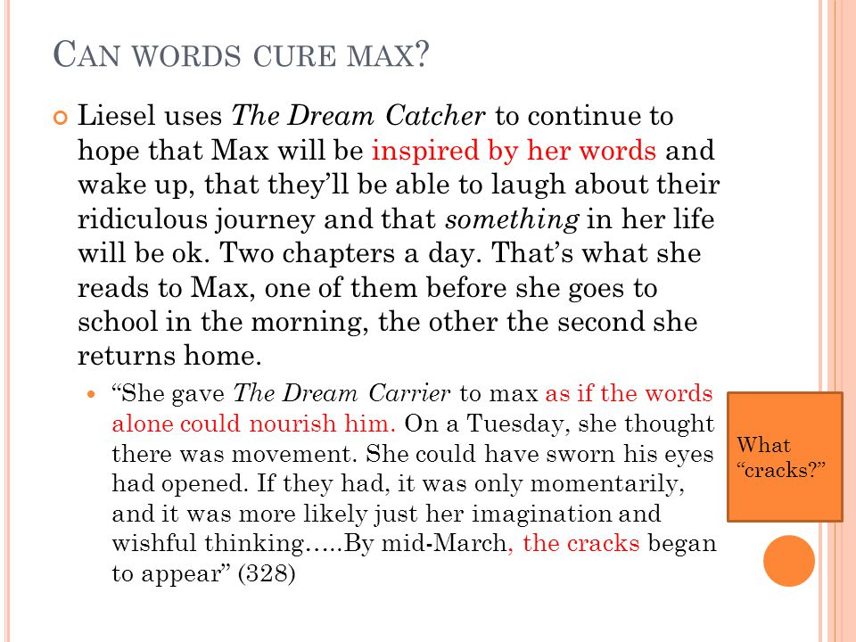 C AN WORDS CURE MAX .
