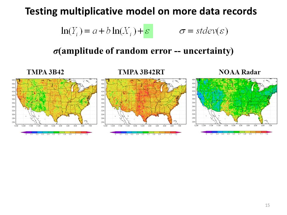 Testing multiplicative model on more data records 15 σ(amplitude of random error -- uncertainty) TMPA 3B42 TMPA 3B42RT NOAA Radar