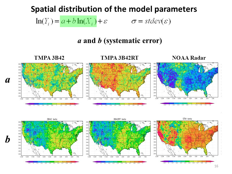 b Spatial distribution of the model parameters 16 a and b (systematic error) TMPA 3B42 TMPA 3B42RT NOAA Radar a