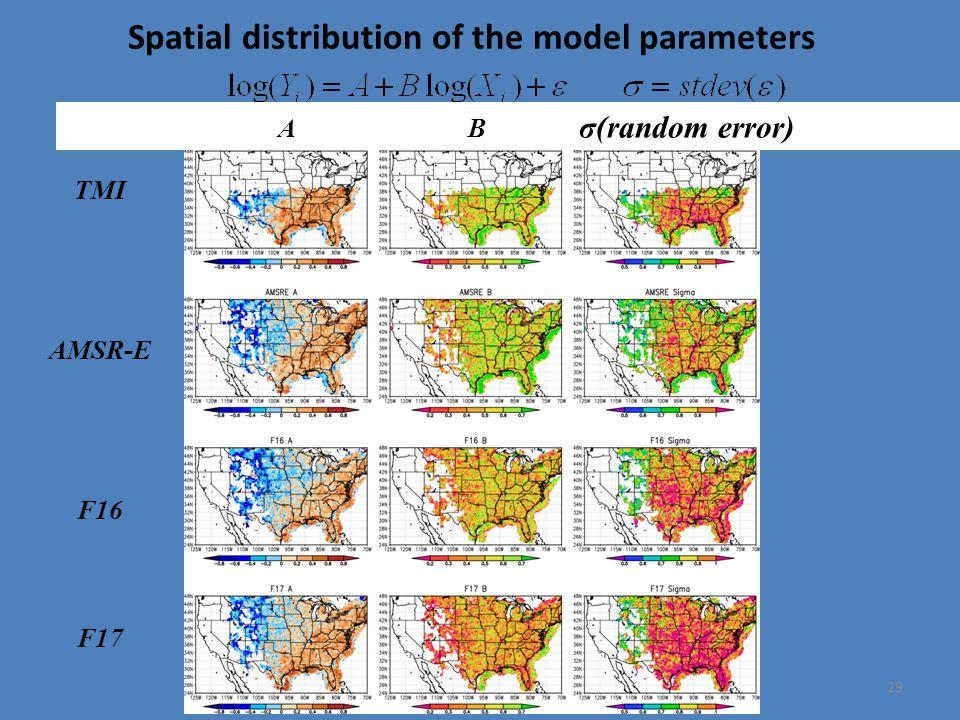 Spatial distribution of the model parameters 29 TMI AMSR-E F16 F17 A B σ(random error)