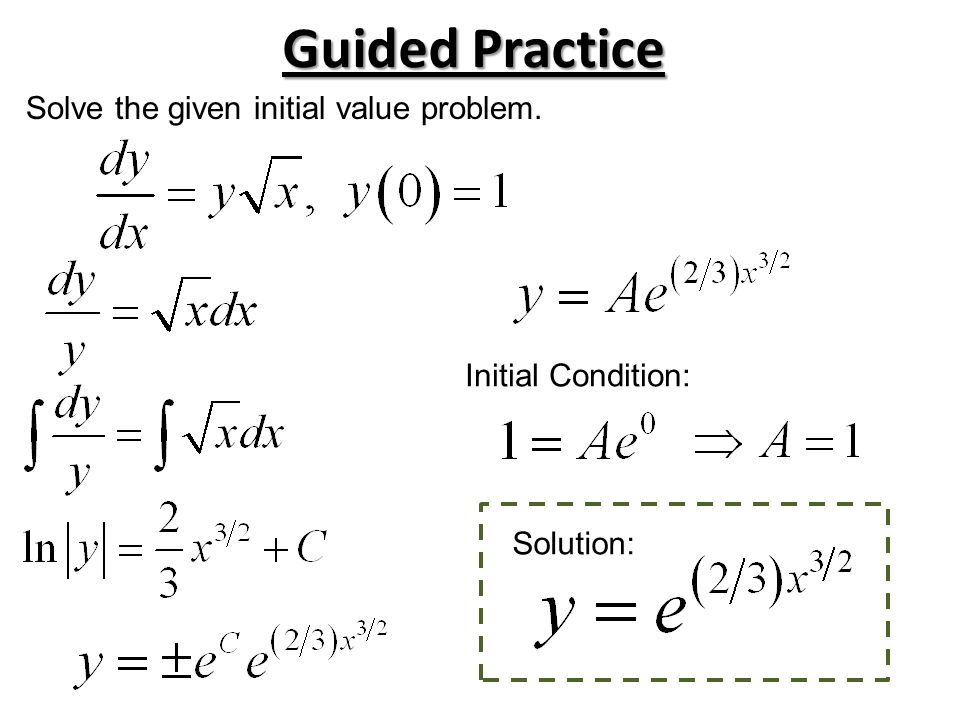 Guided Practice Solve the given initial value problem. Initial Condition: Solution: