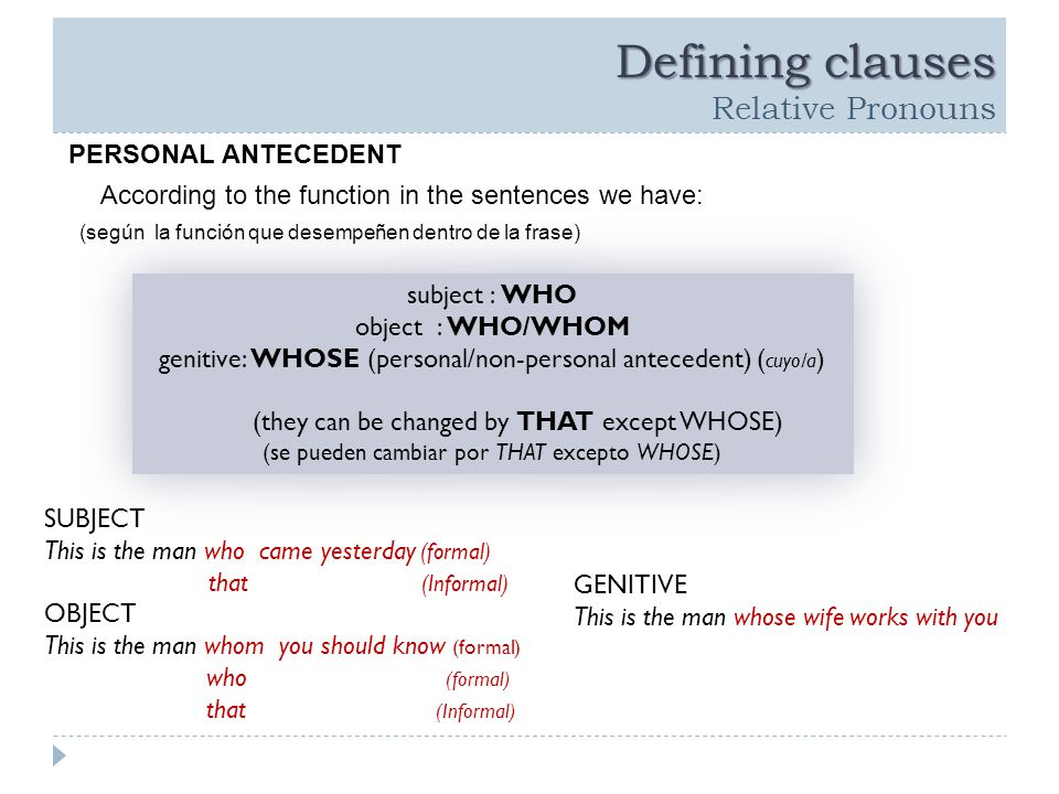 Defining clauses Defining clauses Relative Pronouns PERSONAL ANTECEDENT According to the function in the sentences we have: (según la función que desempeñen dentro de la frase) subject : WHO object : WHO/WHOM genitive: WHOSE (personal/non-personal antecedent) ( cuyo/a ) (they can be changed by THAT except WHOSE) (se pueden cambiar por THAT excepto WHOSE) subject : WHO object : WHO/WHOM genitive: WHOSE (personal/non-personal antecedent) ( cuyo/a ) (they can be changed by THAT except WHOSE) (se pueden cambiar por THAT excepto WHOSE) SUBJECT This is the man who came yesterday (formal) that (Informal) OBJECT This is the man whom you should know (formal) who (formal) that (Informal) GENITIVE This is the man whose wife works with you