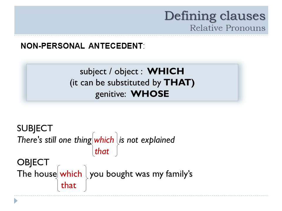 Defining clauses Defining clauses Relative Pronouns SUBJECT There s still one thing which is not explained that OBJECT The house which you bought was my family's that subject / object : WHICH (it can be substituted by THAT) genitive: WHOSE NON-PERSONAL ANTECEDENT: