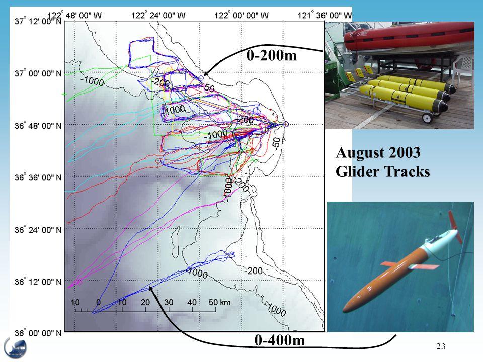 23 August 2003 Glider Tracks 0-400m 0-200m