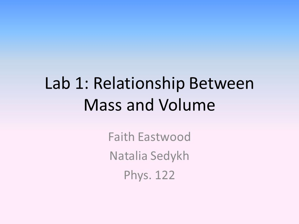 Lab 1: Relationship Between Mass and Volume Faith Eastwood Natalia Sedykh Phys. 122