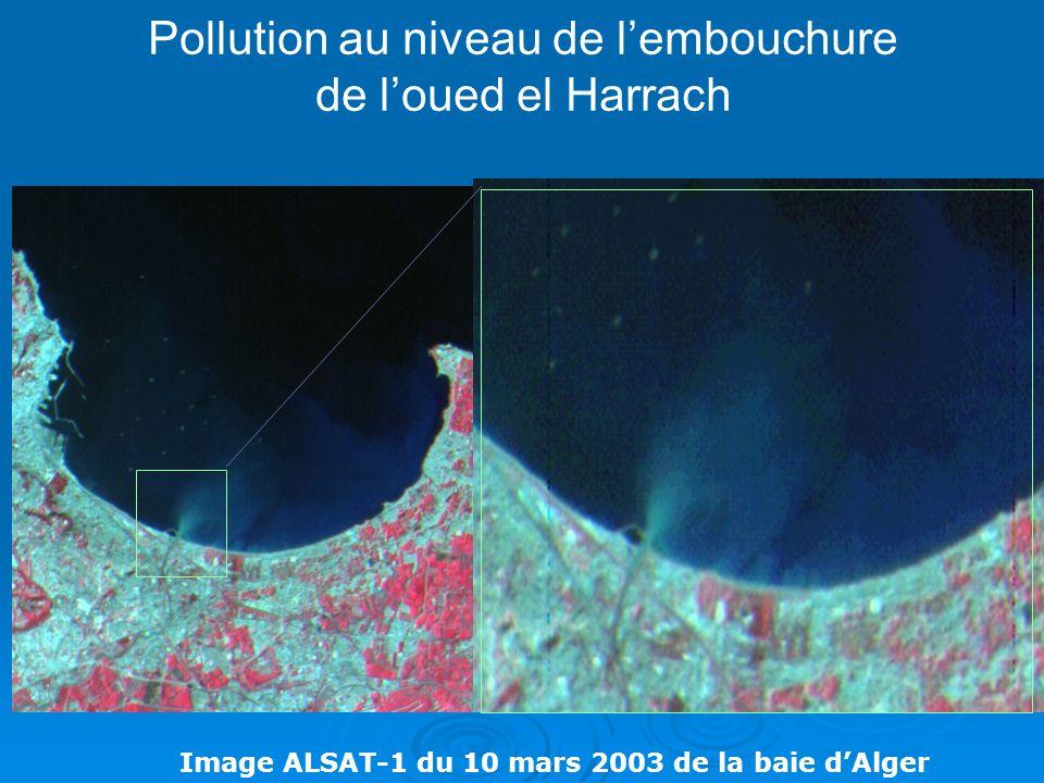 Pollution au niveau de l'embouchure de l'oued el Harrach Image ALSAT-1 du 10 mars 2003 de la baie d'Alger