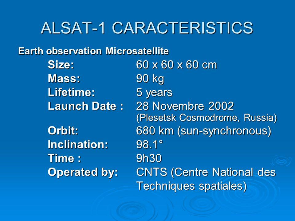 ALSAT-1 CARACTERISTICS Earth observation Microsatellite Size:60 x 60 x 60 cm Mass:90 kg Lifetime: 5 years Launch Date :28 Novembre 2002 (Plesetsk Cosm