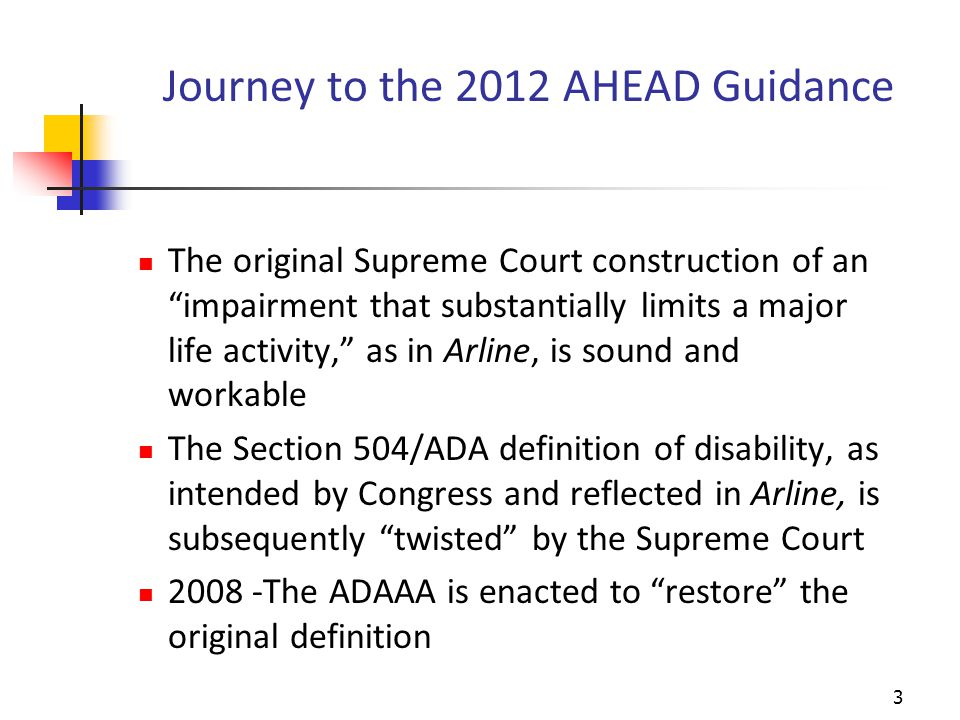 Journey to the AHEAD Guidance (cont.) 2011 - EEOC's Title I Regulations implementing ADAAA promulgated with 9 guiding rules of construction and limited discussion of documentation 2010 - DOJ Regulations & Statutory Guidance implementing Title III concerning testing entities & licensing authorities, etc.