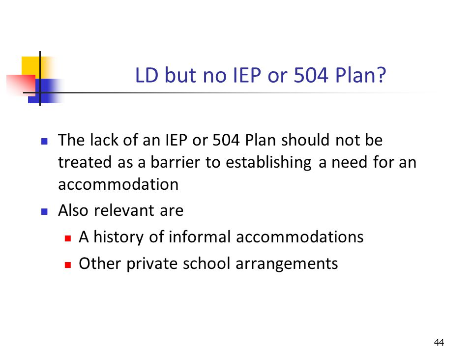 LD but no IEP or 504 Plan.
