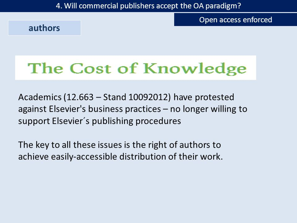 authors Academics (12.663 – Stand 10092012) have protested against Elsevier s business practices – no longer willing to support Elsevier´s publishing procedures The key to all these issues is the right of authors to achieve easily-accessible distribution of their work.