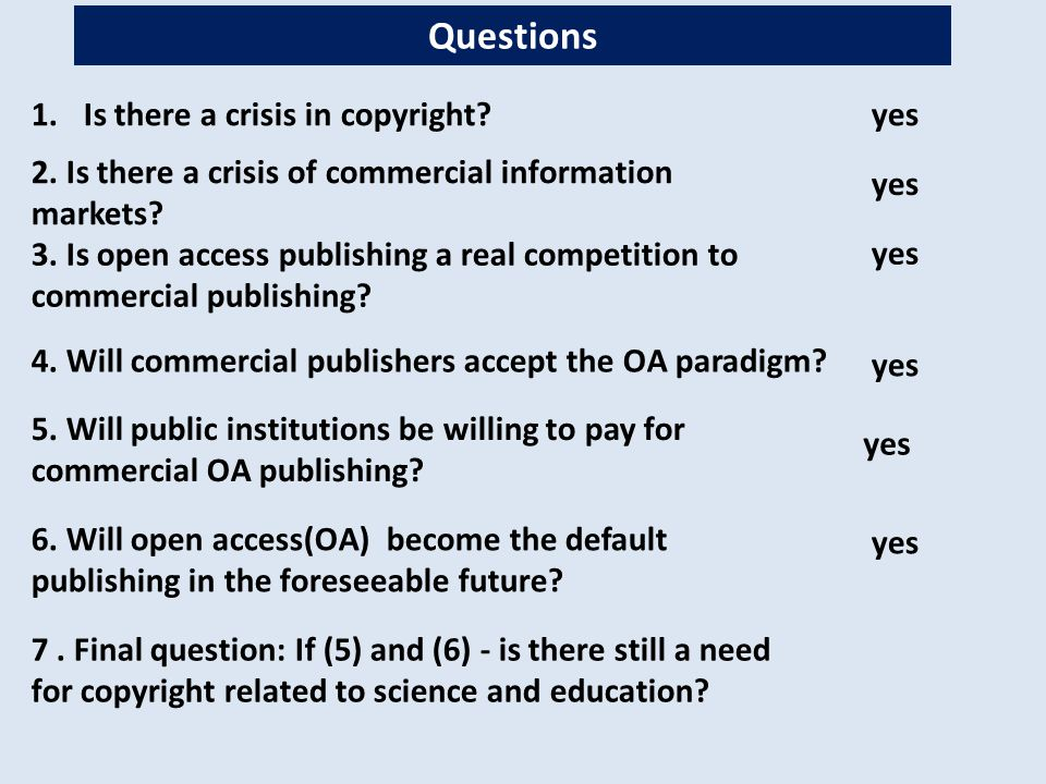 5.Will public institutions be willing to pay for commercial OA publishing.
