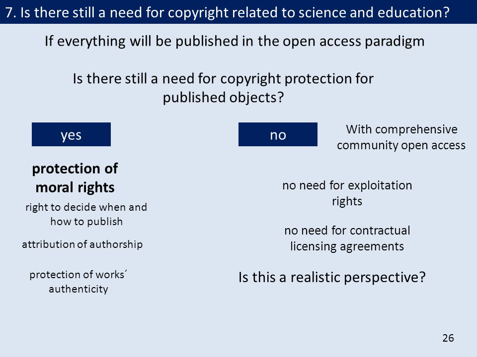 26 If everything will be published in the open access paradigm Is there still a need for copyright protection for published objects.