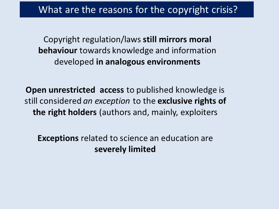 Moral behavior moral rights More and more people claim that the public should have the right to freely access and use scientific work produced in public environments and supported by public money.