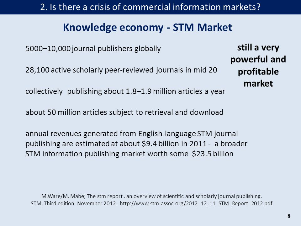 Knowledge economy - STM Market still a very powerful and profitable market and mainly supported/financed by public money Contract between Baden- Württemberg and Springer starting 2015 Free access to 1.917 Springer journals for 51 academic institutions in B.-W.