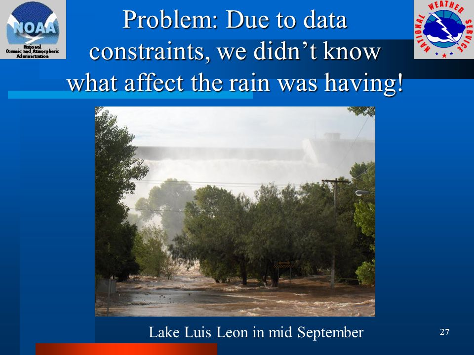 Problem: Due to data constraints, we didn't know what affect the rain was having.