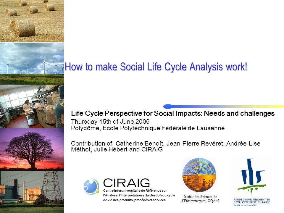 Centre Interuniversitaire de Référence sur l'Analyse, l'Interprétation et la Gestion du cycle de vie des produits, procédés et services How to make Social Life Cycle Analysis work.