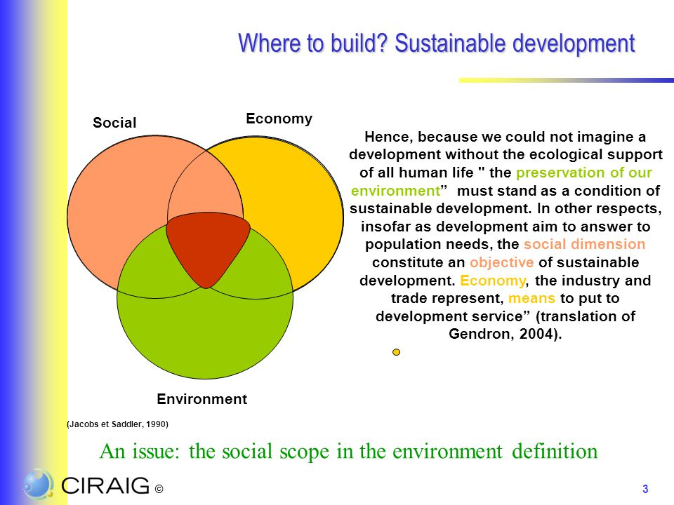 ©3 Where to build? Sustainable development Social Environment Economy Hence, because we could not imagine a development without the ecological support