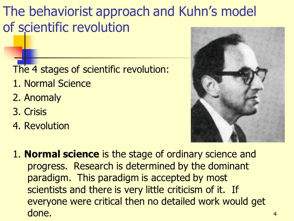 5 The behaviorist approach and Kuhn's model of scientific revolution The 4 stages of scientific revolution: 1.