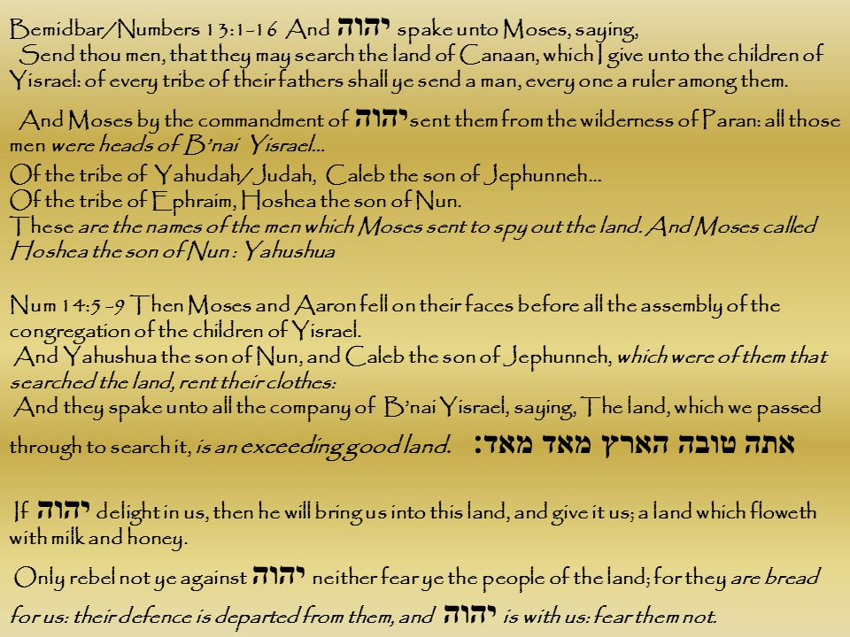 Bemidbar/Numbers 13:1-16 And יהוה spake unto Moses, saying, Send thou men, that they may search the land of Canaan, which I give unto the children of