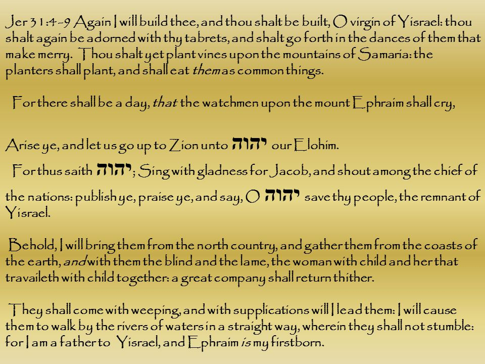Jer 31:4 -9 Again I will build thee, and thou shalt be built, O virgin of Yisrael: thou shalt again be adorned with thy tabrets, and shalt go forth in