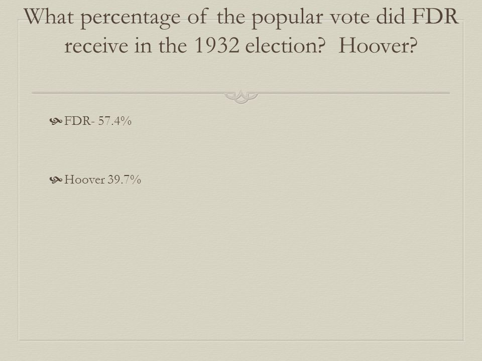 What percentage of the popular vote did FDR receive in the 1932 election? Hoover?  FDR- 57.4%  Hoover 39.7%