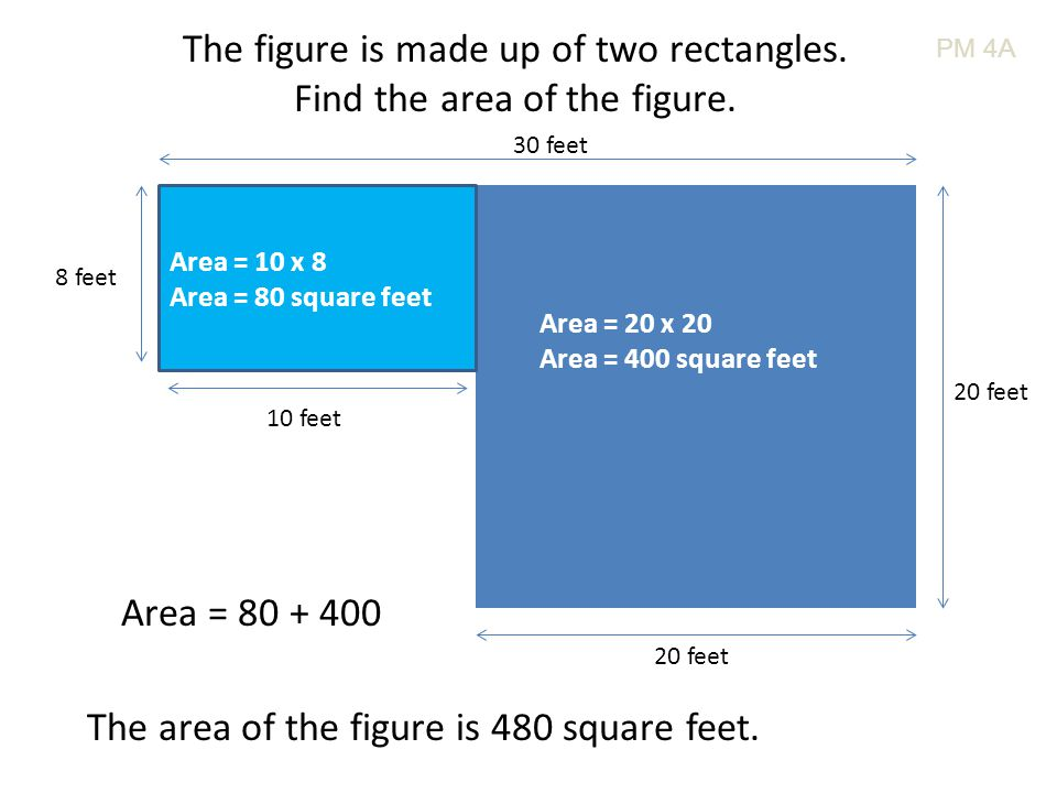 The figure is made up of two rectangles. Find the area of the figure. 30 feet 20 feet 8 feet 10 feet Area = 20 x 20 Area = 400 square feet Area = 10 x