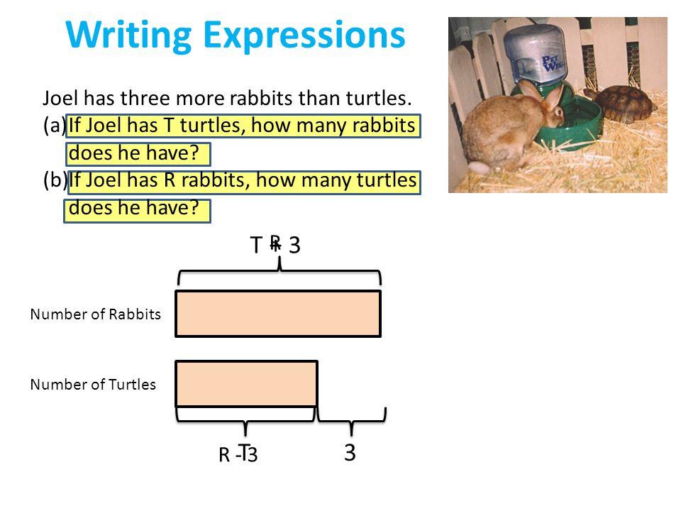 Joel has three more rabbits than turtles. (a)If Joel has T turtles, how many rabbits does he have? (b)If Joel has R rabbits, how many turtles does he