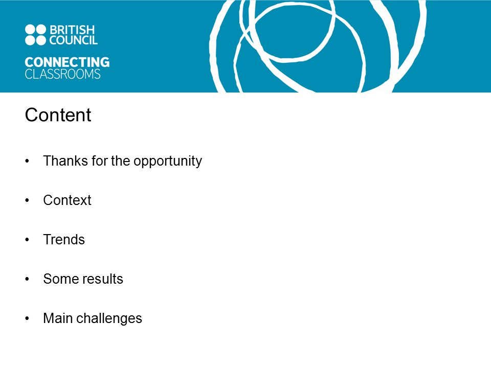 Content Thanks for the opportunity Context Trends Some results Main challenges