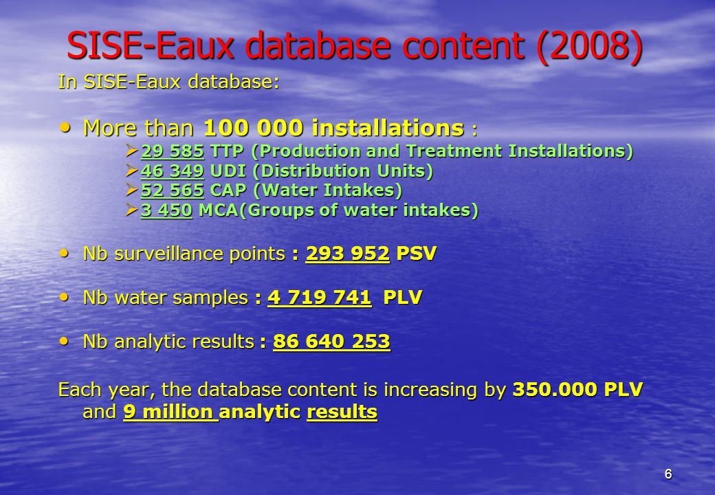 6 SISE-Eaux database content (2008) In SISE-Eaux database: More than 100 000 installations : More than 100 000 installations :  29 585 TTP (Production and Treatment Installations)  46 349 UDI (Distribution Units)  52 565 CAP (Water Intakes)  3 450 MCA(Groups of water intakes) Nb surveillance points : 293 952 PSV Nb surveillance points : 293 952 PSV Nb water samples : 4 719 741 PLV Nb water samples : 4 719 741 PLV Nb analytic results : 86 640 253 Nb analytic results : 86 640 253 Each year, the database content is increasing by 350.000 PLV and 9 million analytic results
