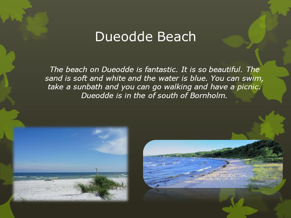 Dueodde Beach The beach on Dueodde is fantastic. It is so beautiful. The sand is soft and white and the water is blue. You can swim, take a sunbath an
