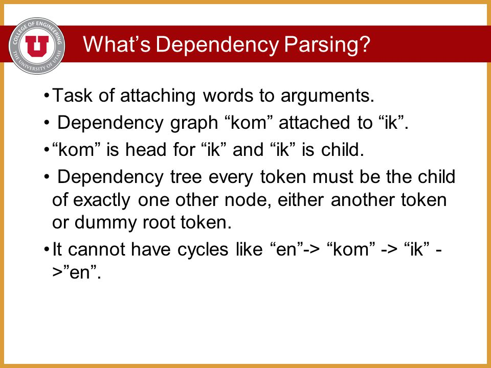 What's Dependency Parsing. Task of attaching words to arguments.