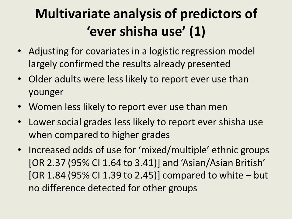 Multivariate analysis of predictors of 'ever shisha use' (1) Adjusting for covariates in a logistic regression model largely confirmed the results alr