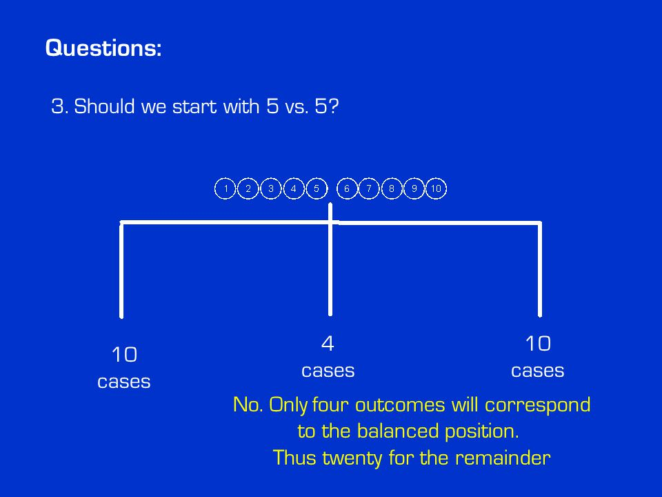 Questions: No. Only four outcomes will correspond to the balanced position.