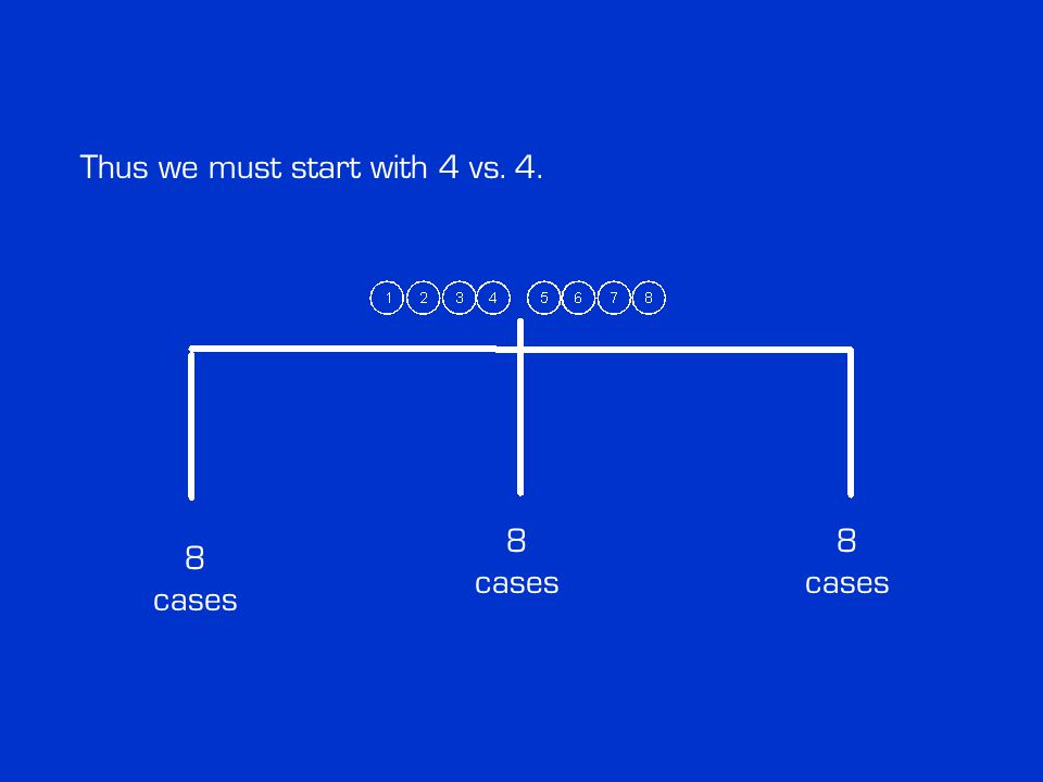 Thus we must start with 4 vs. 4. 8 cases