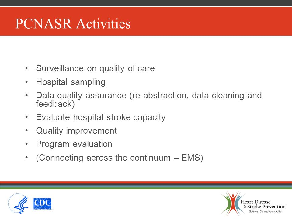 PCNASR Activities Surveillance on quality of care Hospital sampling Data quality assurance (re-abstraction, data cleaning and feedback) Evaluate hospi