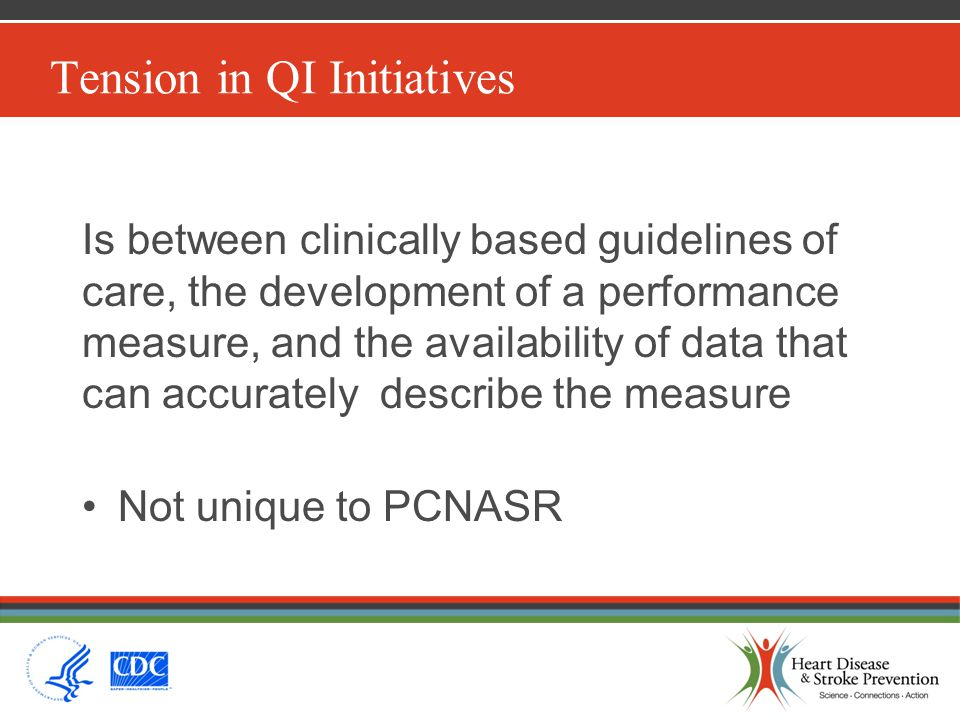 Tension in QI Initiatives Is between clinically based guidelines of care, the development of a performance measure, and the availability of data that