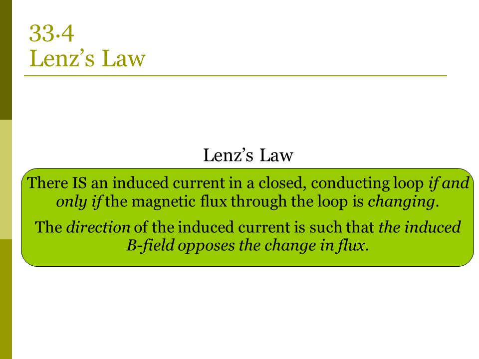 Lenz's Law There IS an induced current in a closed, conducting loop if and only if the magnetic flux through the loop is changing. The direction of th