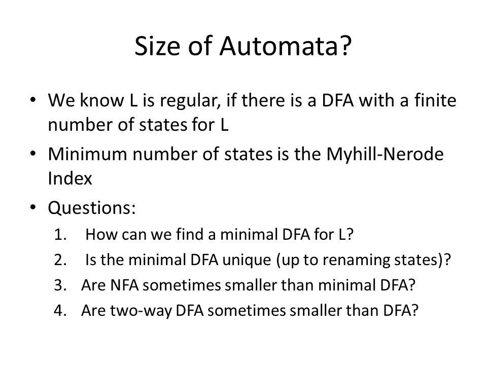 Size of Automata.