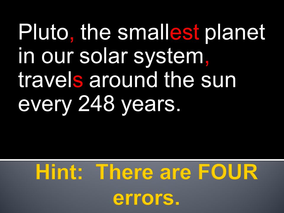 Pluto, the smallest planet in our solar system, travels around the sun every 248 years.