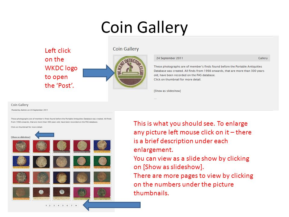 Coin Gallery Left click on the WKDC logo to open the 'Post'.