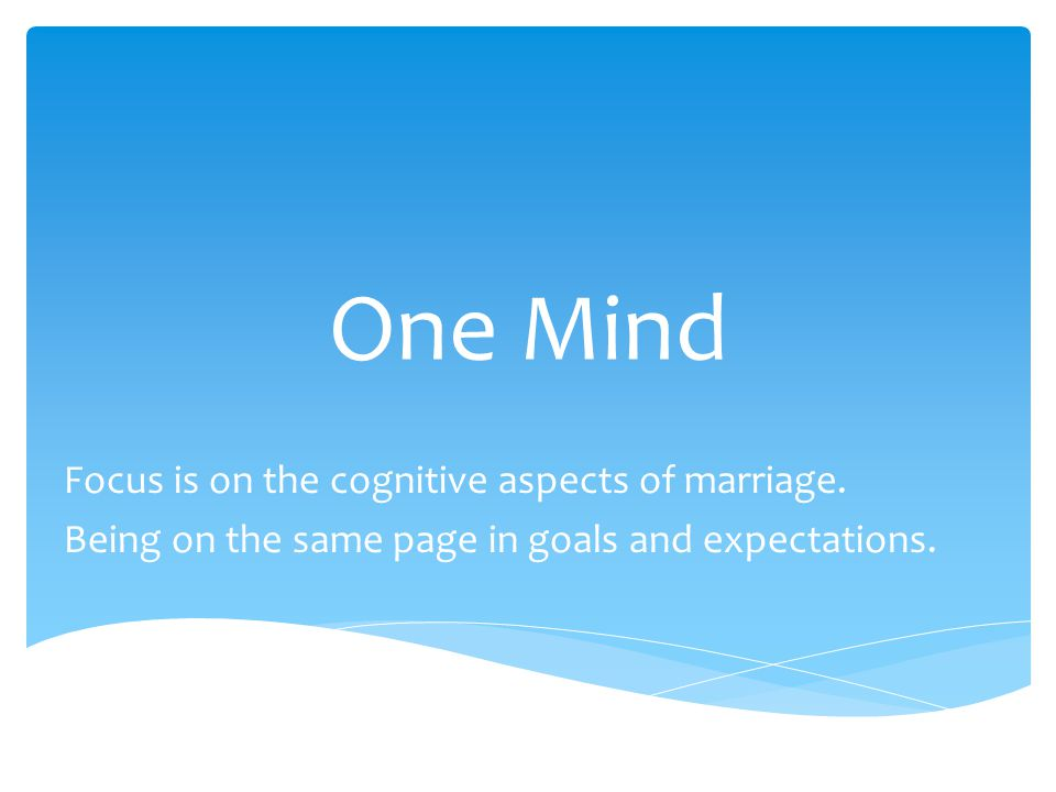 One Mind Focus is on the cognitive aspects of marriage. Being on the same page in goals and expectations.