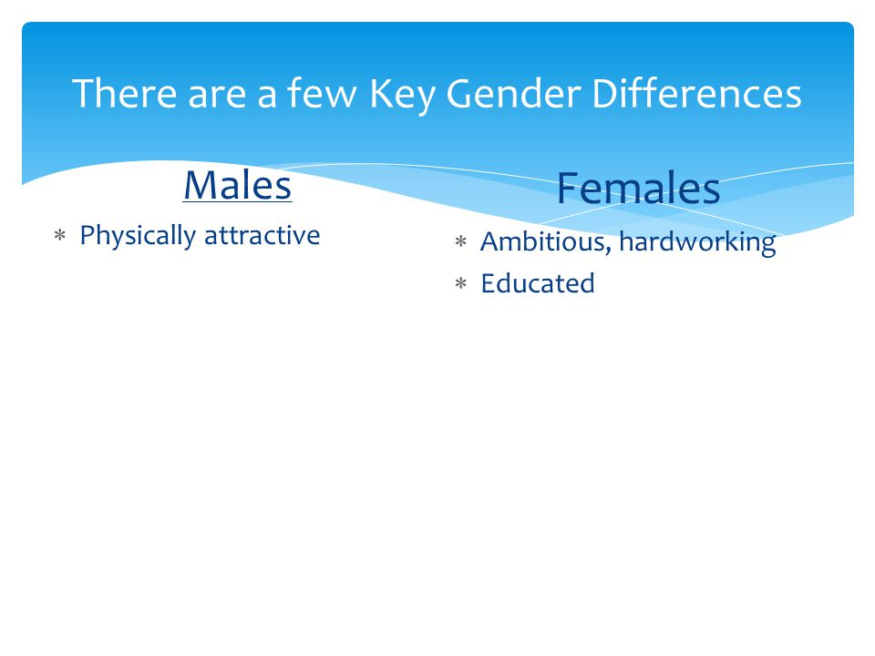 There are a few Key Gender Differences Males  Physically attractive Females  Ambitious, hardworking  Educated