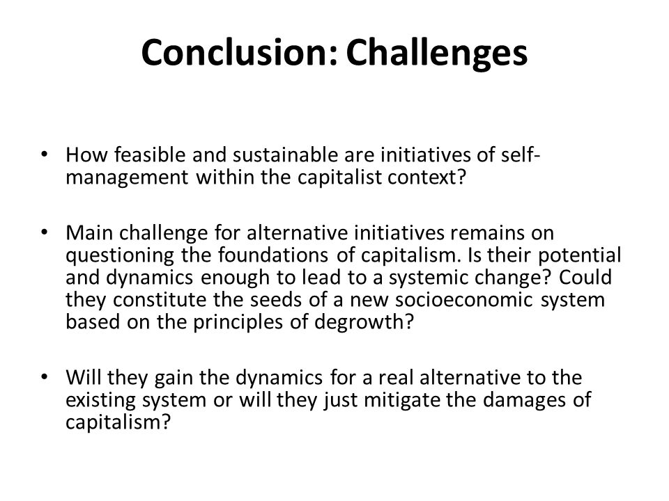 Conclusion: Challenges How feasible and sustainable are initiatives of self- management within the capitalist context.