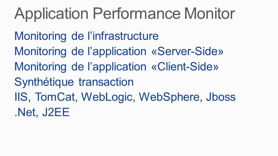 Monitoring de l'infrastructure Monitoring de l'application «Server-Side» Monitoring de l'application «Client-Side» Synthétique transaction IIS, TomCat, WebLogic, WebSphere, Jboss.Net, J2EE