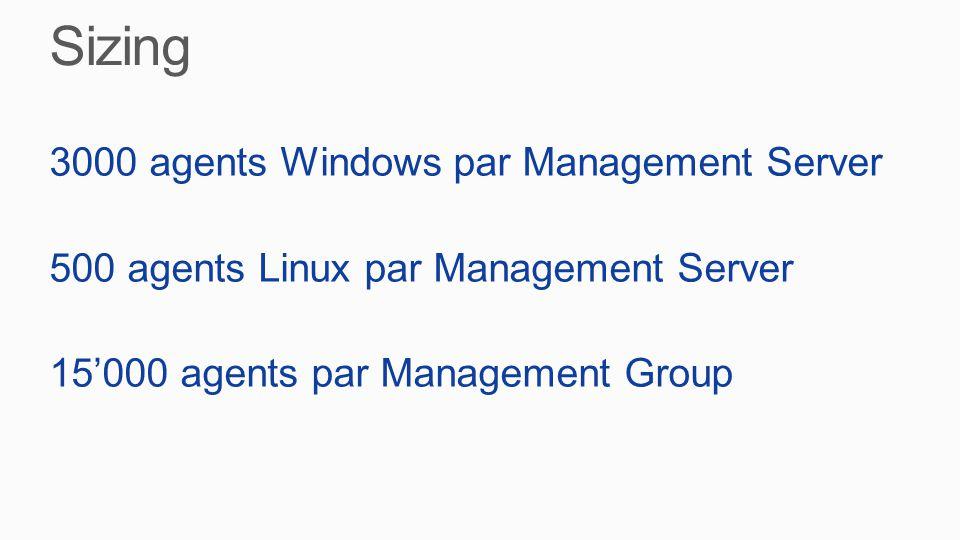 3000 agents Windows par Management Server 500 agents Linux par Management Server 15'000 agents par Management Group