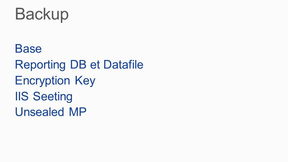 Base Reporting DB et Datafile Encryption Key IIS Seeting Unsealed MP