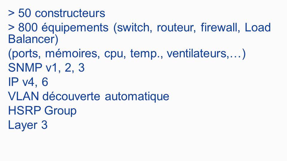 > 50 constructeurs > 800 équipements (switch, routeur, firewall, Load Balancer) (ports, mémoires, cpu, temp., ventilateurs,…) SNMP v1, 2, 3 IP v4, 6 VLAN découverte automatique HSRP Group Layer 3