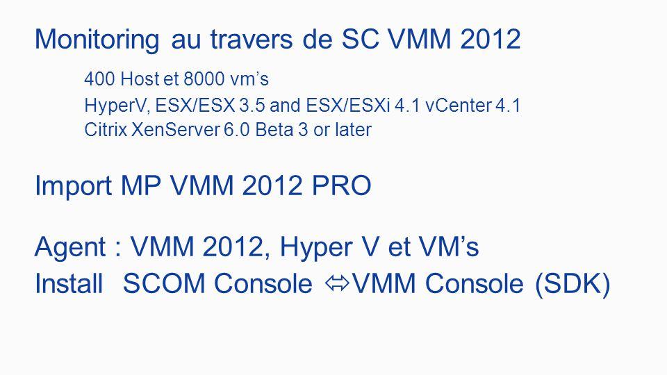 Monitoring au travers de SC VMM 2012 400 Host et 8000 vm's HyperV, ESX/ESX 3.5 and ESX/ESXi 4.1 vCenter 4.1 Citrix XenServer 6.0 Beta 3 or later Import MP VMM 2012 PRO Agent : VMM 2012, Hyper V et VM's Install SCOM Console  VMM Console (SDK)
