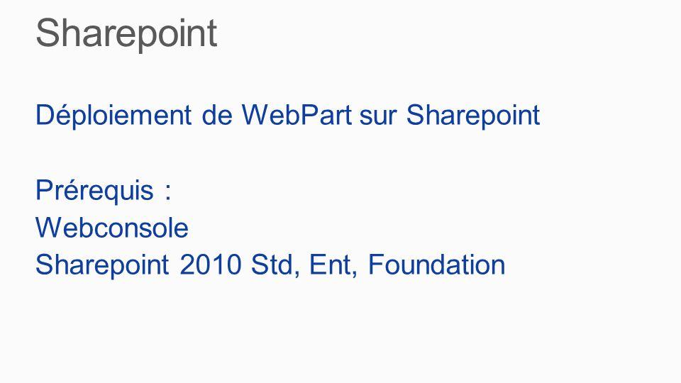 Déploiement de WebPart sur Sharepoint Prérequis : Webconsole Sharepoint 2010 Std, Ent, Foundation