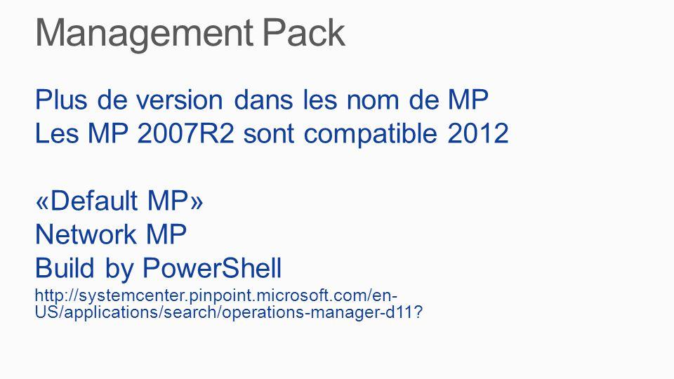 Plus de version dans les nom de MP Les MP 2007R2 sont compatible 2012 «Default MP» Network MP Build by PowerShell http://systemcenter.pinpoint.microsoft.com/en-US/applications/search/operations- manager-d11
